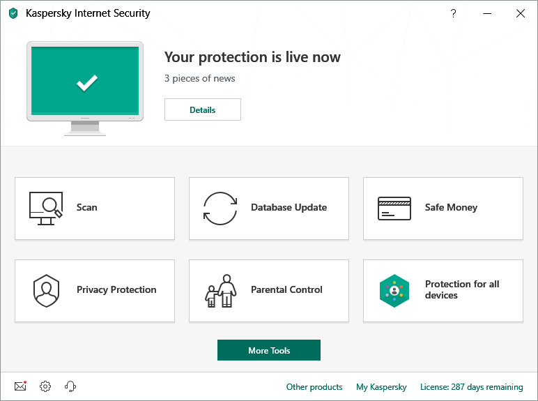 Kaspersky Your protection is live